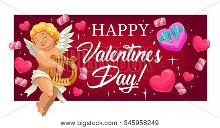 Cupid With Lyre, Hearts Greeting Banner Of Love Holiday. Vector Amur Or Cherub Playing Lyre, Romanti
