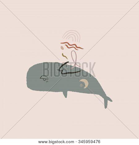Whale And Girl Printable Wall Art Minimalist Poster Terracotta Mid Century Modern Digital Print Abst