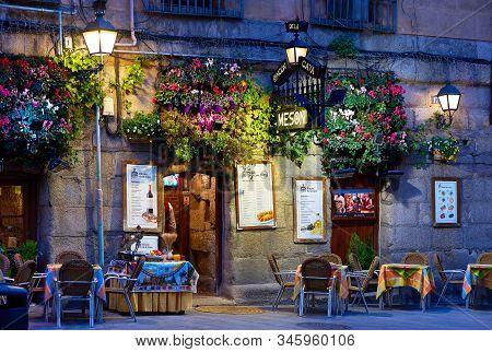 Madrid, Spain - January 10, 2020. A Typical Meson Of Madrid Downtown At Nightfall. Madrid, Spain.