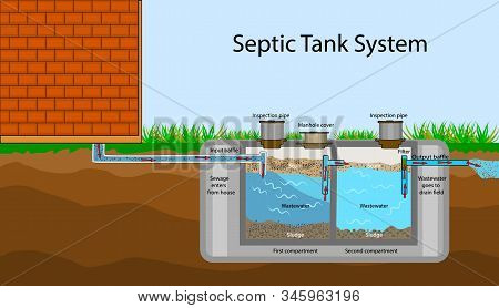 Septic Tank Diagram. Septic System And Drain Field Scheme . An Underground Septic Tank Illustration.