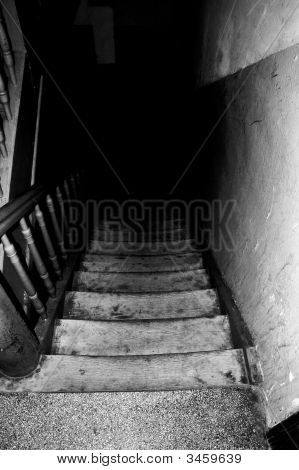 Wooden Stairs In Old House