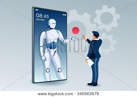 Symbolic Office, Computer Symbol As Remote Web Assistance For Humans. Artificial Intelligence Techno