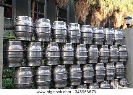 Taipei, Taiwan - December 4, 2018: Taiwan Beer Brewery Fence Made From Beer Barrels In Taipei, Taiwa