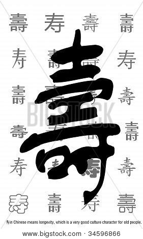 Longevity in Chinese with tens painting style