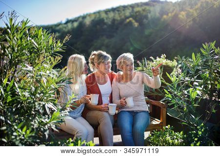Senior Women Friends Sitting Outdoors On Terrace, Resting.