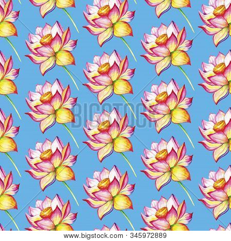 Blooming Lotus. Hand Drawn Decorative Seamless Pattern. Watercolor Illustration Isolated On A Blue B