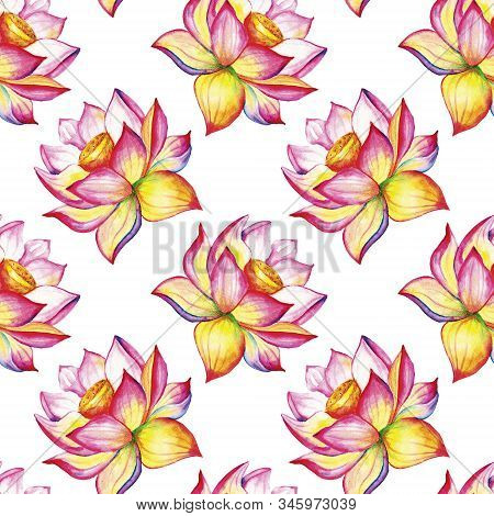 Blooming Lotus. Hand Drawn Decorative Seamless Pattern. Watercolor Illustration Isolated On A White