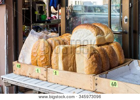Kutaisi, Georgia, October 13, 2019 : Bread Counter Is On The Market In The Old Part Of Kutaisi In Ge