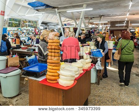 Kutaisi, Georgia, October 13, 2019 : Merchants Stand Near Their Dairy Stalls In The Market In The Ol