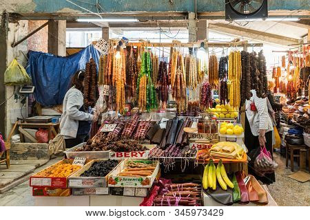 Kutaisi, Georgia, October 13, 2019 : Fruit, Dried Fruit And Dried Fruit Sweets Counter In The Market