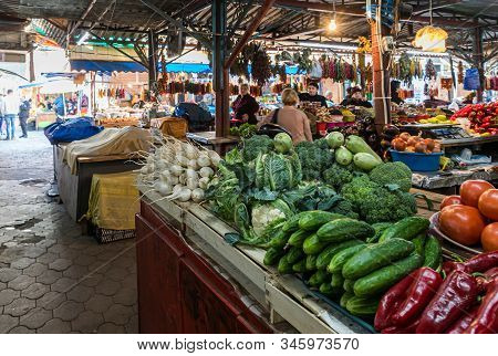 Kutaisi, Georgia, October 13, 2019 : Fresh Vegetables Counter In The Market In The Old Part Of Kutai