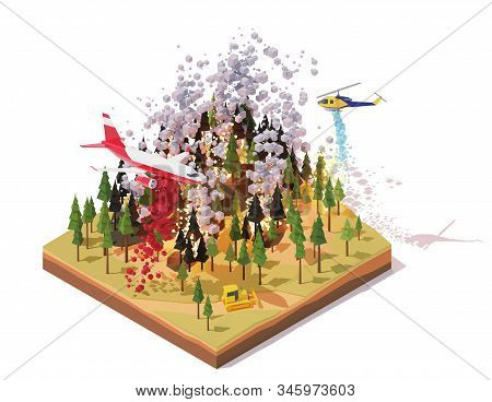 Vector Isometric Firefighting Airplane And Helicopter Fighting Wildfires. Wildfire Or Bushfire Infog