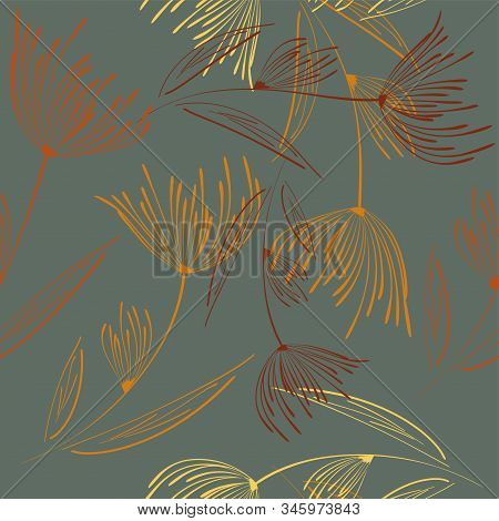 Vintage Dandelion Seamless, Great Design For Any Purposes. Beautiful Vector Illustration. Vintage De