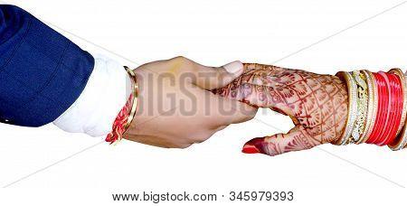 Bride & Groom Hand's Together In Indian Wedding