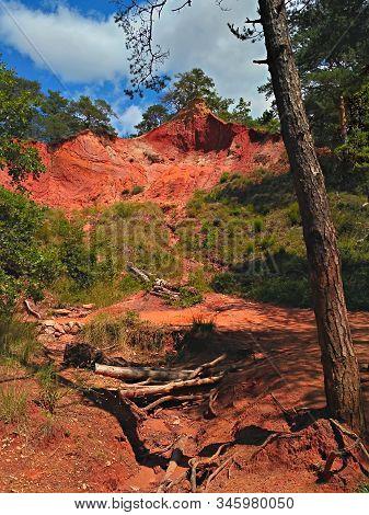 Roussillon, France, Red Ochr Rocks In Roussillon