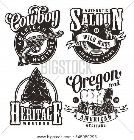 Vintage Wild West Prints Set With Revolver Horseshoe Flint Arrowhead Old Wagon In Monochrome Style I