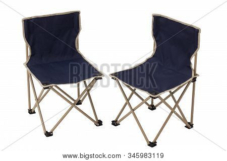 Folding Canvas Camping Chairs Isolated On White Background