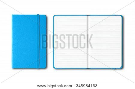 Cyan Blue Closed And Open Lined Notebooks Mockup Isolated On White