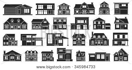 Villa Of House Vector Black Set Icon.vector Illustration Building Of Home.isolated Black Set Icon Vi