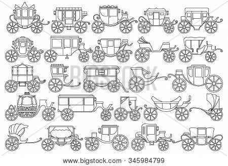Vintage Carriage Vector Outline, Line Set Icon. Vector Illustration Set Cart For Princess. Isolated