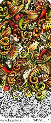 Mexican Food Hand Drawn Doodle Banner. Cartoon Detailed Flyer.