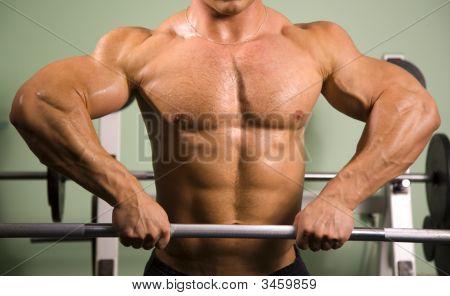 Close-Up van een Bodybuilder Gewichtheffen