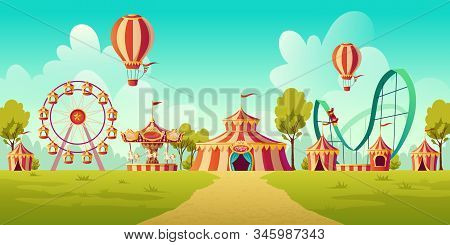 Carnival Funfair, Amusement Park With Circus Tent, Roller Coaster, Carousel And Ferris Wheel. Vector