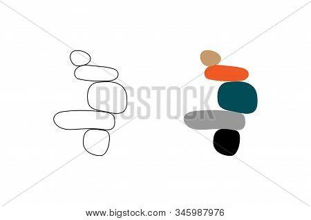 Balance Concept. Illustration Of Balance Made Of Stones. Balance Stones Logo Print. Modern Art Print