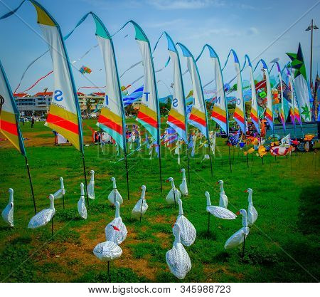 """Marseilles, France, Sept 2019, Geese Shape Weathercock For Sale At The """"festival Of The Wind"""" On Sea"""