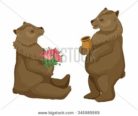 Two Bears, A Bear Is Standing And Eating A Honey In A Pot, A Bear Is Holding A Bouquet. Vector Illus