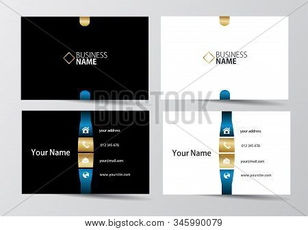 Golden And Blue Business Card. Visiting Card Template Two Sides