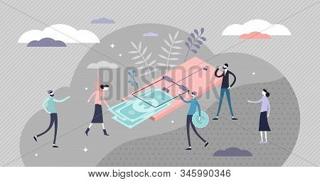 Money Trap Concept, Financial Risk Metaphor. Flat Tiny Person Concept Vector Illustration. Symbolic