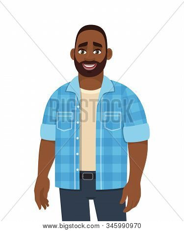 Trendy Young African American Man Standing. Stylish Person Looking And Posing. Male Character Design