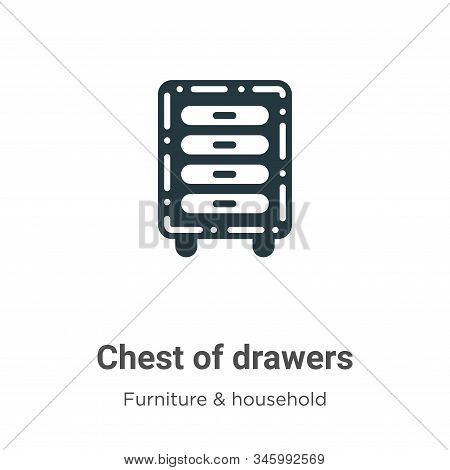 Chest of drawers icon isolated on white background from furniture and household collection. Chest of