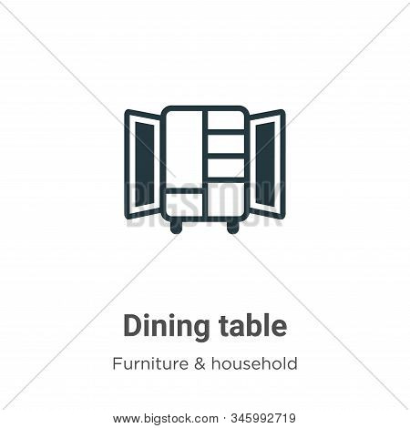 Dining Table Vector Icon On White Background. Flat Vector Dining Table Icon Symbol Sign From Modern