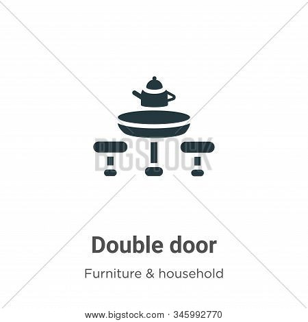 Double door icon isolated on white background from furniture and household collection. Double door i
