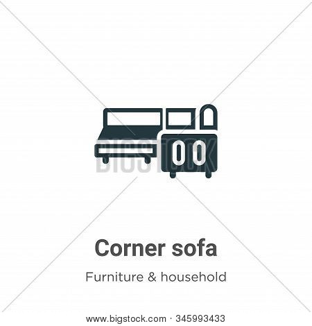 Corner sofa icon isolated on white background from furniture and household collection. Corner sofa i