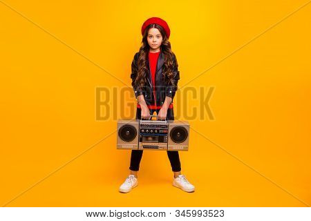 Full Length Body Size View Of Her She Nice Attractive Trendy Confident Long-haired Girl In Streetsty