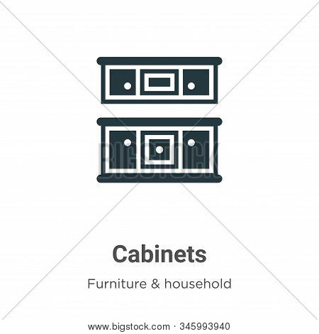 Cabinets Vector Icon On White Background. Flat Vector Cabinets Icon Symbol Sign From Modern Furnitur