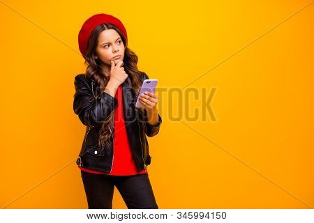Portrait Of Her She Nice Attractive Trendy Bewildered Long-haired Girl Wearing Streetstyle Using Cel