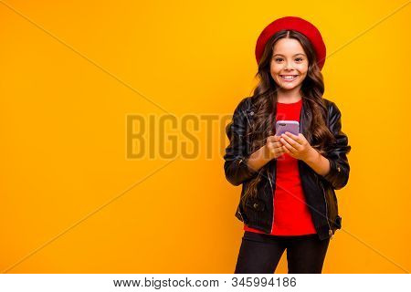 Portrait Of Her She Nice Attractive Lovely Cheerful Cheery Long-haired Girl Wearing Streetstyle Usin