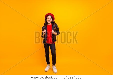 Full Length Body Size View Of Her She Nice Attractive Fashionable Cheerful Cheery Long-haired Girl W