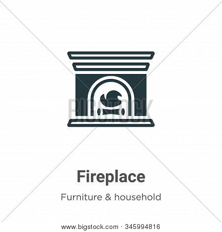 Fireplace icon isolated on white background from furniture collection. Fireplace icon trendy and mod