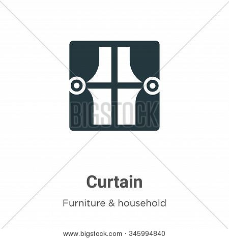 Curtain icon isolated on white background from furniture collection. Curtain icon trendy and modern