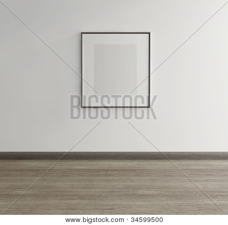 Framed art, canvas on wall of an art gallery with wood floor