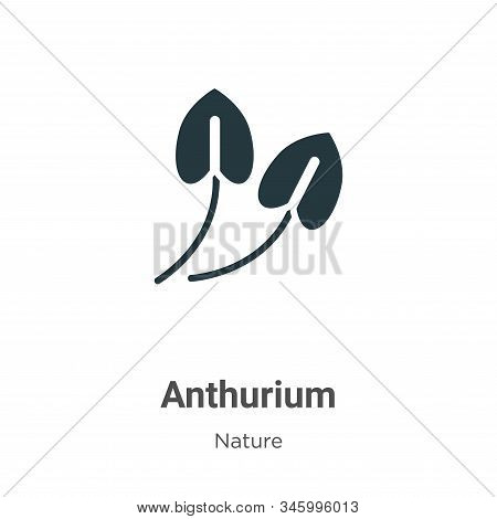 Anthurium Vector Icon On White Background. Flat Vector Anthurium Icon Symbol Sign From Modern Nature