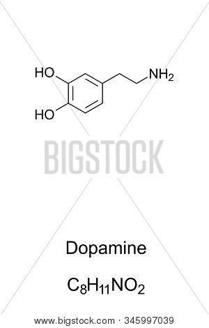 Dopamine Molecule, Skeletal Formula. Structure Of Da, C8h11no2. Hormone And Neurotransmitter. In Pop