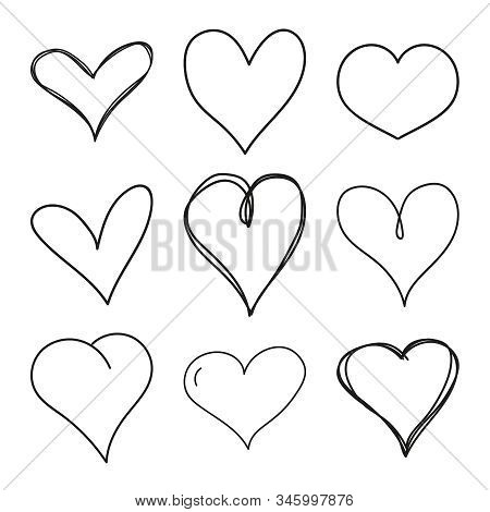 Set Of Black Scribble Hand Drawn Hearts. Vector Collection Of Hearts For Valentines Day Sweethearts.