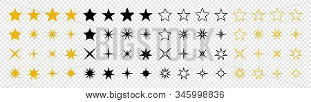 Stars Collection. Star Vector Icons. Golden And Black Set Of Stars, Isolated On Transparent Backgrou