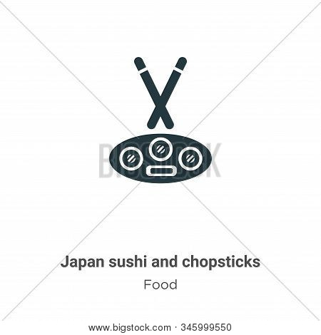 Japan sushi and chopsticks icon isolated on white background from food collection. Japan sushi and c